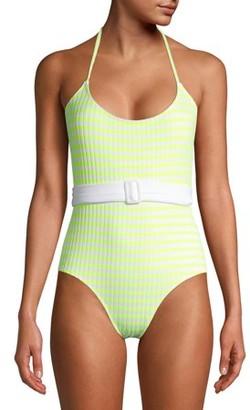 No Boundaries Juniors' Yellow Checker One-Piece Swimsuit