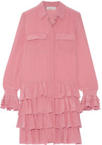 Paul & Joe Ealienor Ruffled Silk Crepe De Chine Mini Dress - Pink