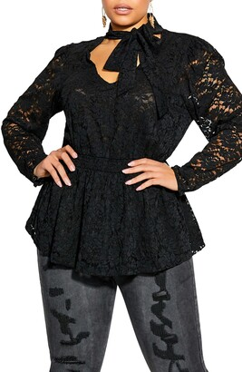 City Chic Tie Neck Long Sleeve Lace Top