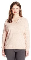 Marc New York Performance Women's Plus-Size Split Front Pullover Sweatshirt with Sleeve Stripes