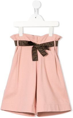 Fendi Kids paper bag FF belt shorts