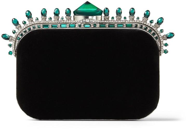 Jimmy Choo CLOUD Black Velvet Clutch Bag with Dark Green Crown Jewels