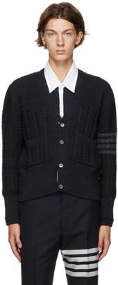 Thom Browne Grey Wool Aran Cable 4-Bar Cardigan