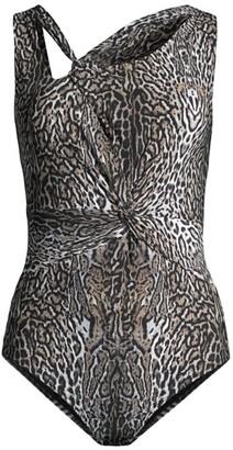 Chiara Boni Kately Leopard-Print Criss-Cross Swimsuit