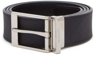 Burberry London Check Reversible Canvas And Leather Belt - Mens - Grey
