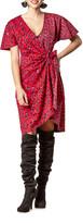 Eva Franco Cameo Animal-Print Faux-Wrap Short-Sleeve Dress