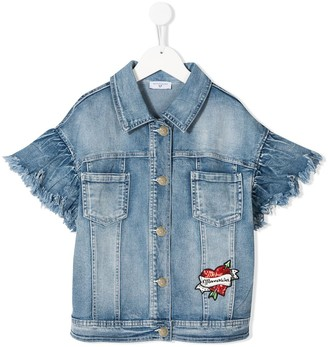 MonnaLisa Short Sleeve Distressed Denim Jacket