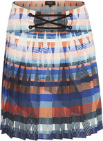 Oxford Fleur Pleated Skirt Orange Multi X