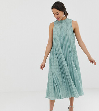 Asos Tall DESIGN Tall high neck pleated broderie midi swing dress-Green