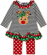 Bonnie Jean Bonnie Baby Baby Girls Newborn-24 Months Christmas Reindeer Mixed-Media Dress & Polka-Dot Leggings Set