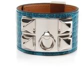 Blue Izmir Shiny Alligator Collier de Chien Bracelet