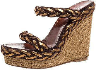 Christian Louboutin Two Tone Braided Leather And Suede Espadrille Wedge Platform Sandals Size 38