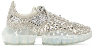 Jimmy Choo Diamond Crystal-embellished Suede Trainers - Womens - Silver