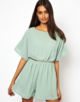 Little Mistress Playsuit With Open Back - Green