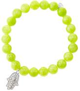 Sydney Evan 8mm Smooth Lime Jade Beaded Bracelet with 14k White Gold/Diamond Medium Hamsa Charm (Made to Order)