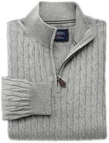 Charles Tyrwhitt Light Grey Cotton Cashmere Cable Zip Neck Cotton/Cashmere Sweater Size Large