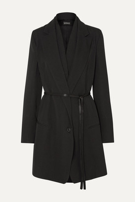 Ann Demeulemeester Layered Satin-trimmed Wool And Cotton-blend Coat - Black
