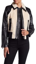 7 For All Mankind Lamb Leather & Faux Fur Short Jacket
