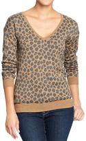 Old Navy Women's Leopard-Print V-Neck Sweaters
