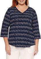 Liz Claiborne 3/4 Sleeve V Neck T-Shirt-Plus