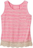Miss Chievous Girls 7-16 Crochet Hem Striped Tank Top
