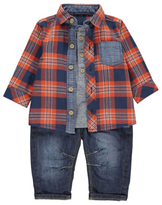 George 3 Piece Check Shirt, Top and Jeans Set