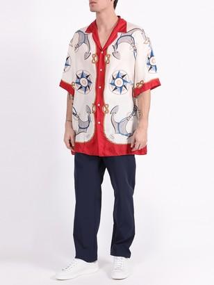 Gucci Silk Anchor Print Bowling Shirt
