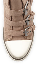 Ash Canvas Buckled Wedge Sneaker, Stone
