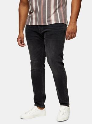 Topman BIG & TALL Washed Black Stretch Skinny Jeans*