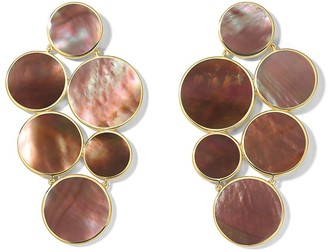 Ippolita 18kt yellow gold Polished Rock Candy 6-stone circle cluster brown shell earrings