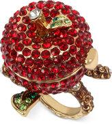 Betsey Johnson Gold-Tone Pavé Apple Keepsake Ring