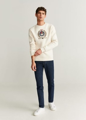 MANGO MAN - Embroidered felt sweatshirt off white - XL - Men