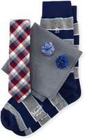 Original Penguin Five-Piece Sock and Tie Box Set, Multi/Red Plaid