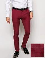 Asos Super Skinny Smart Trousers In Mini Check In Red