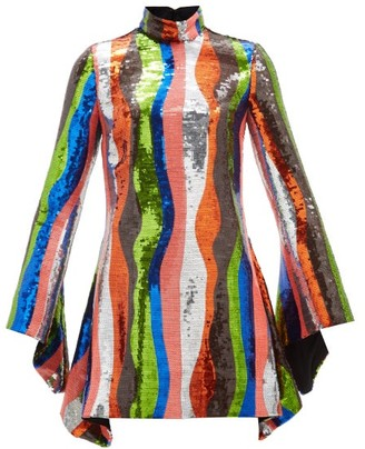 Halpern Wave-stripe Flared-sleeve Sequinned Mini Dress - Multi