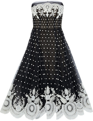 Oscar de la Renta Strapless Embroidered Polka-dot Tulle Gown