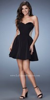 La Femme Rhinestone Studded Fit and Flare Homecoming Dress