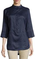 Neiman Marcus Linen 3/4-Sleeve Button-Front Tunic, Navy