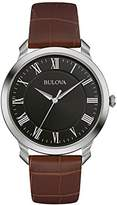 Bulova Men's Designer Watch Leather Strap - Brown Black Classic Dress Wrist Watch 96A184