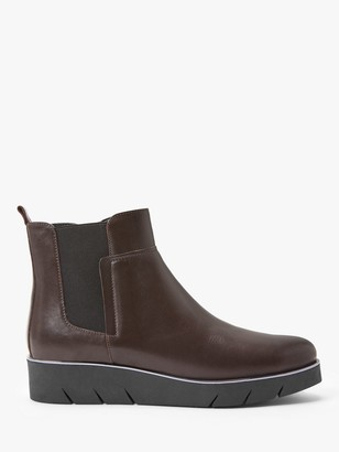 John Lewis & Partners Designed for Comfort Oda Leather Ankle Boots, Brown