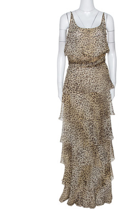 Valentino Boutique Vintage Beige Animal Print Tiered Maxi Dress L