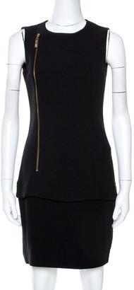 Roberto Cavalli Class by Black Crepe Print Panel Detail Dress M