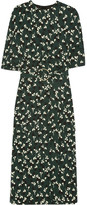 Marni Floral-print Crepe Midi Dress - Forest green