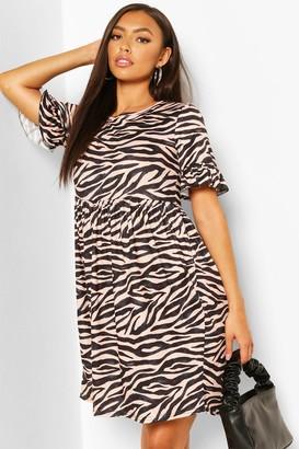 boohoo Zebra Print Smock Dress