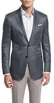 Ermenegildo Zegna Milano Mini-Check Two-Button Wool Jacket, Gray