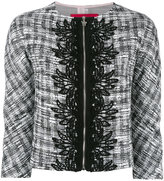 Moncler Gamme Rouge jacquard trim cropped jacket - women - Silk/Cotton/Acrylic/other fibers - I