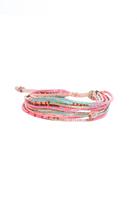 Chan Luu Pink Mix Seed Multi Strand Bracelet