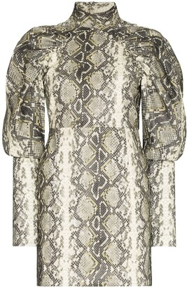 Rotate by Birger Christensen Kim snake-print dress