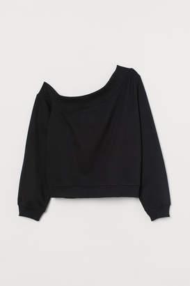 H&M One-shoulder Sweatshirt - Black