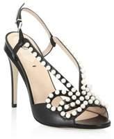 Fendi Pearl Studded Bow Stiletto Sandals